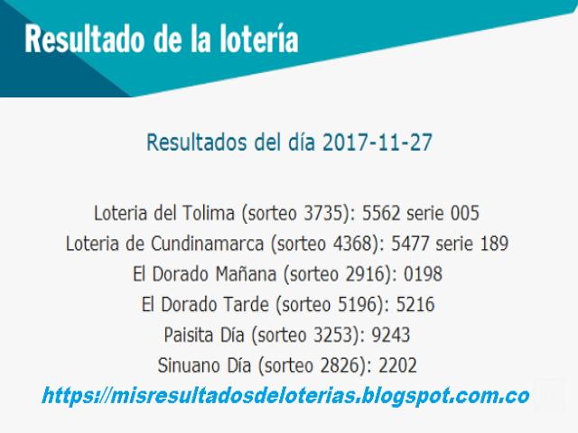 Como jugo la lotería anoche | Resultados diarios de la lotería y el chance | resultados del dia 27-11-2017