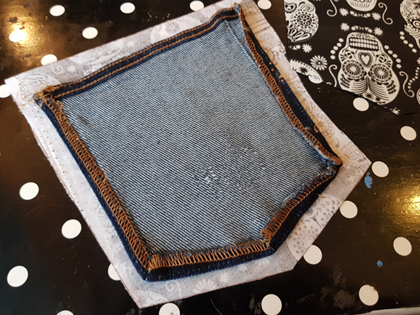 Use an existing pocket as a template to replace the design of the denim jean pocket