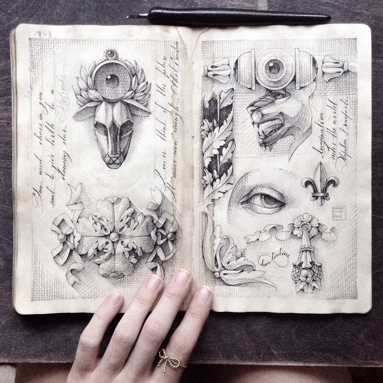 13-Elena-Limkina-Moleskine-Illustration-Adorned-with-Lovely-Calligraphy-www-designstack-co