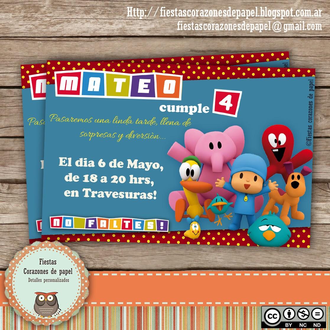 Invitaciones De Cumpleaños De Pocoyo