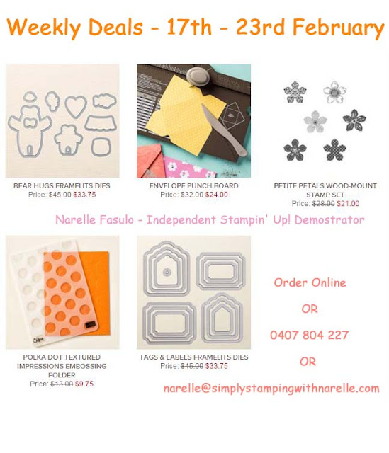 New Weekly Deals are available - some great items this week - a few of these will be ending up in my shopping cart this week - http://www3.stampinup.com/ECWeb/ItemList.aspx?categoryid=120100&dbwsdemoid=4008228