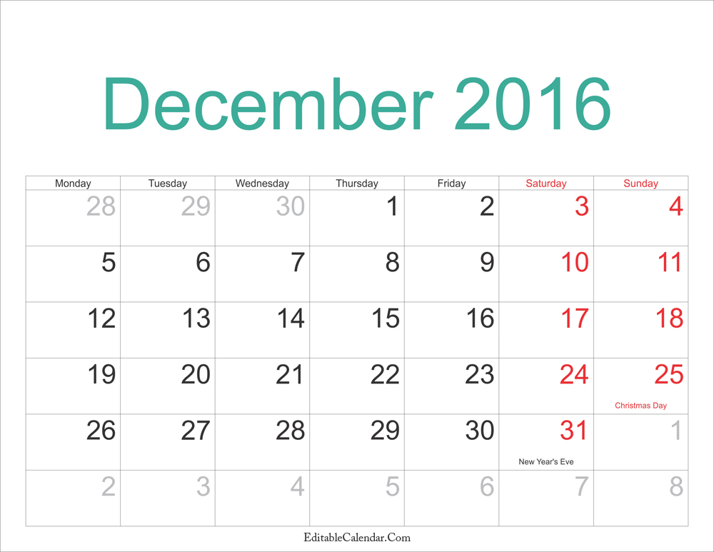 Printable Calendar 2016 2017