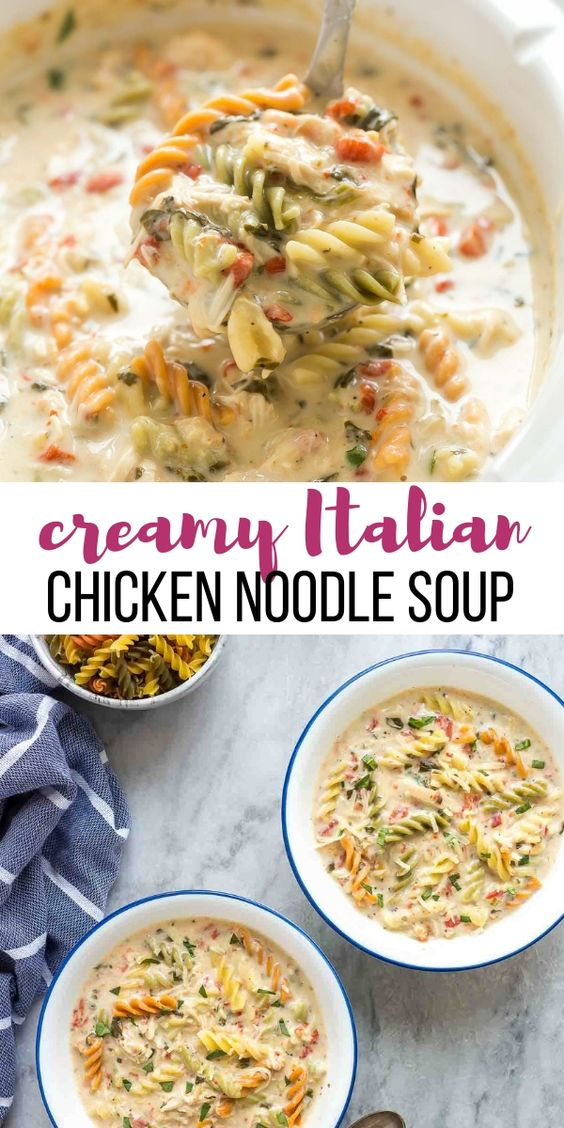 Creamy Italian Slow Cooker Chicken Noodle Soup #creamy #italian #slowcooker #chicken #noodle #soup
