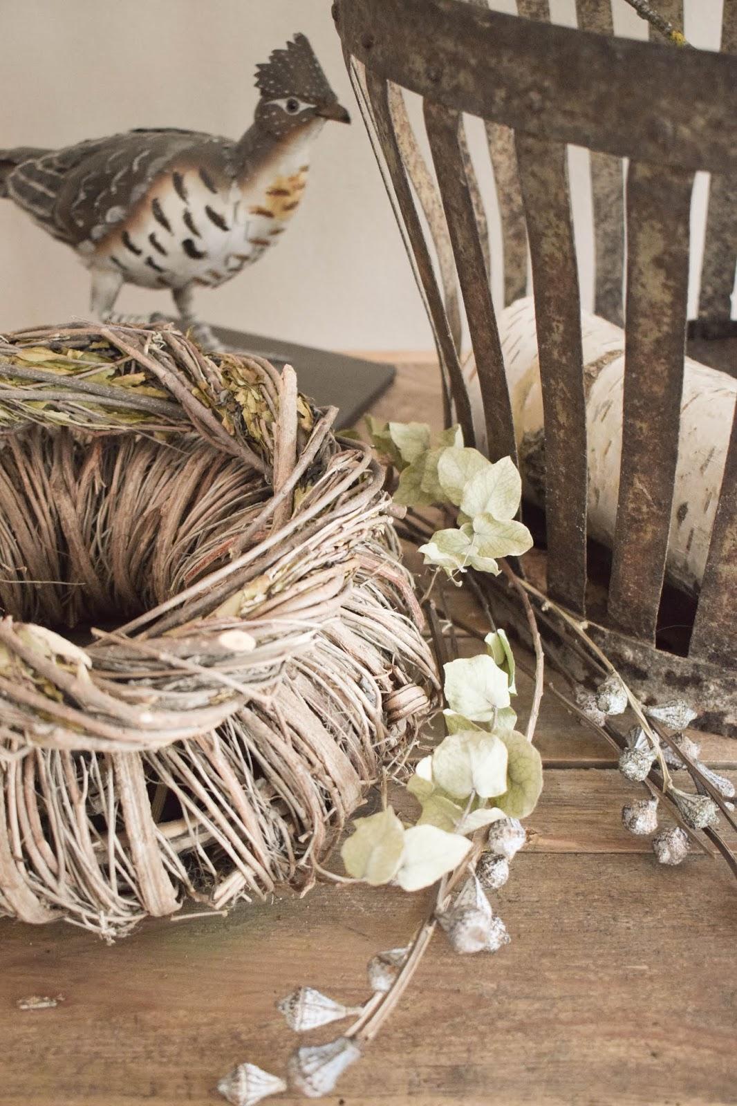 Deko Herbst Naturdeko natürlich dekorieren für Sideboard Konsole Kranz Flohmarkt Dekoidee kränze