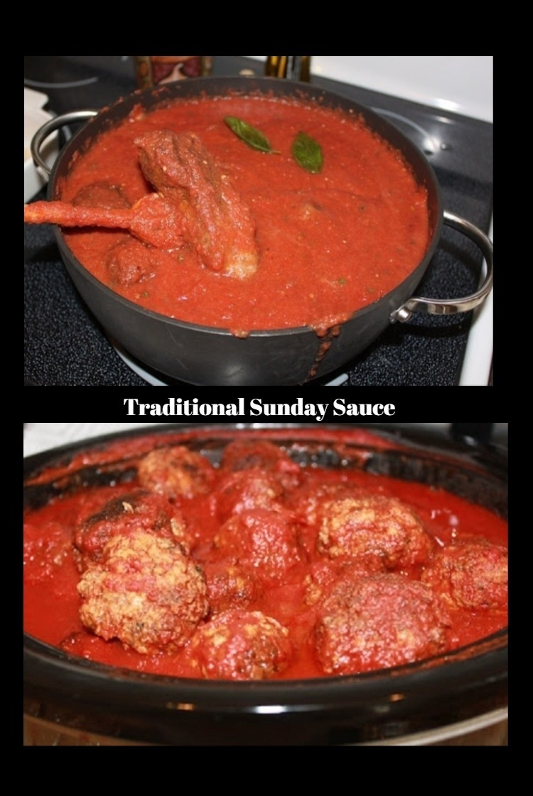 Sunday sauce with meatballs in a black crockpot or slow cooker