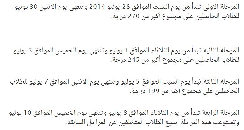 تنسيق القبول بالصف الأول الثانوى والدبلومات الفننية 2014 بمحافظة القاهرة