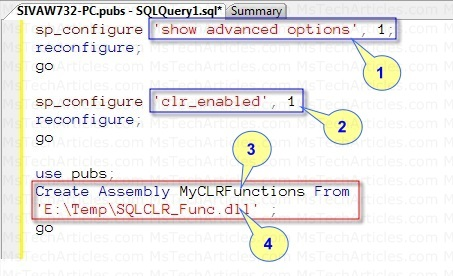 Configure SQL CLR and Create Assembly using T-SQL