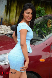Actress Ankitha Jadhav Pictures in Blue Short Dress at Cottage Craft Mela  0016.JPG