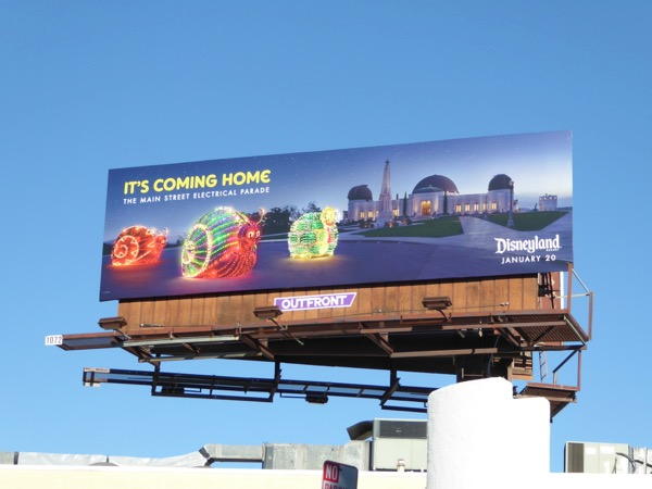 Disneyland Electrical Parade Coming Home snails billboard
