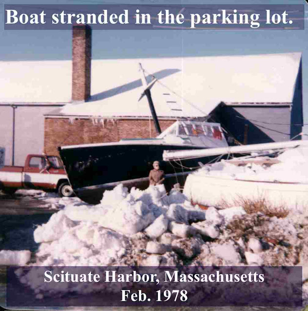 Scituate Harbor, MA lobster boat in the parking lot Feb 1978. Some Wicked Drag. marchmatron.com