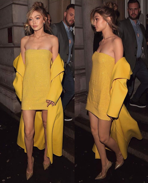 Gigi Hadid Shines like a Sunshine in this Yellow Attire in gigiXmaybelline party in New York