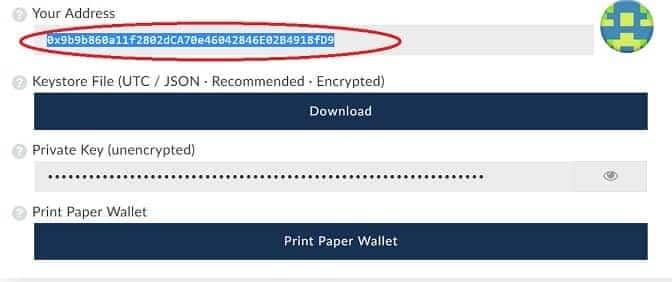 Dirección wallet Ethereum recibir tokens POWR