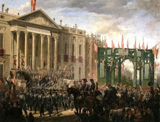 Oleo del desfile de tropas,flanqueadas por los oficiales a caballo y numeoso público..