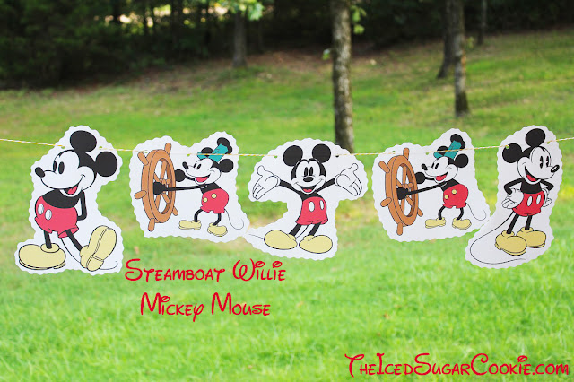 Steamboat Willie Mickey Mouse-Classic Mickey Mouse Birthday Party DIY Banner Ideas by The Iced Sugar Cookie