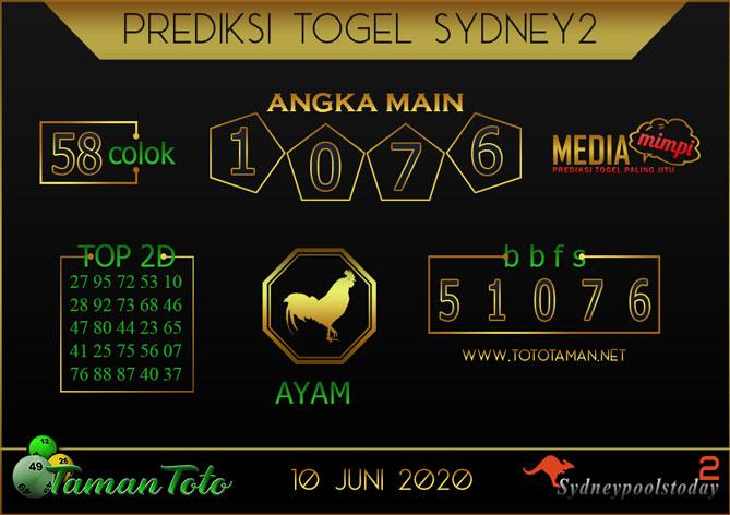 Prediksi Togel SYDNEY 2 TAMAN TOTO 10 JUNI 2020