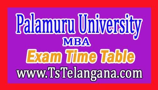 Palamuru University MBA II Sem 2016 (Reg & Backlog) Exam Time Table