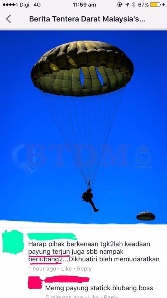 Payung tentera udara berlubang