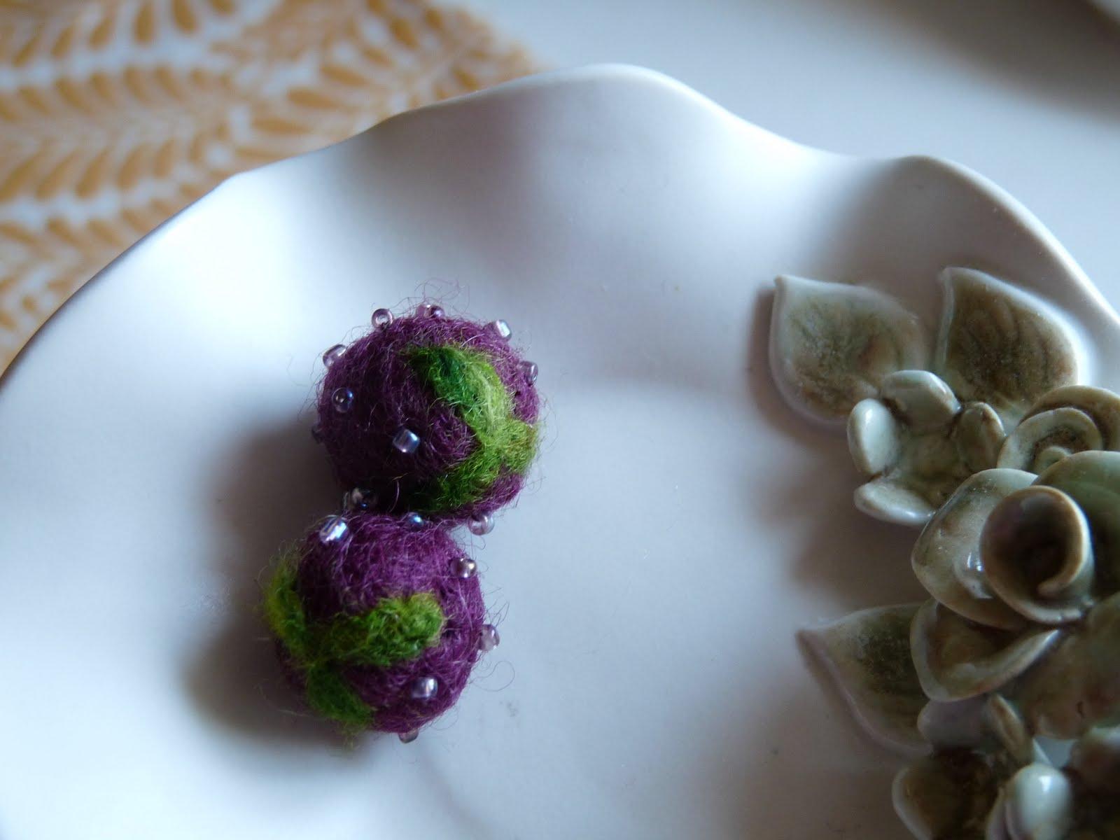 Needle felted wool blackberries