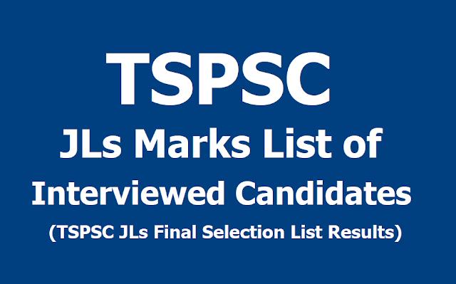 TSPSC JLs Marks List, TSPSC JLs Final Selection List Results