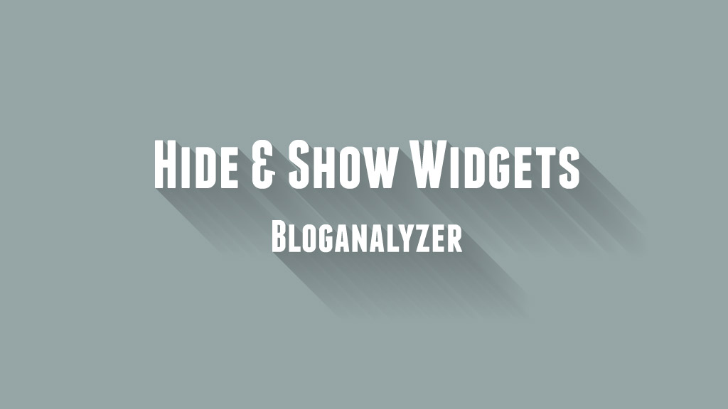 Hide and Show Blogger Widgets (Including Official Widgets)