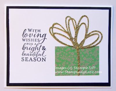Card featuring the flower die from Stampin'UP's Sunshine Wishes Die Set as a ribbon for a gift