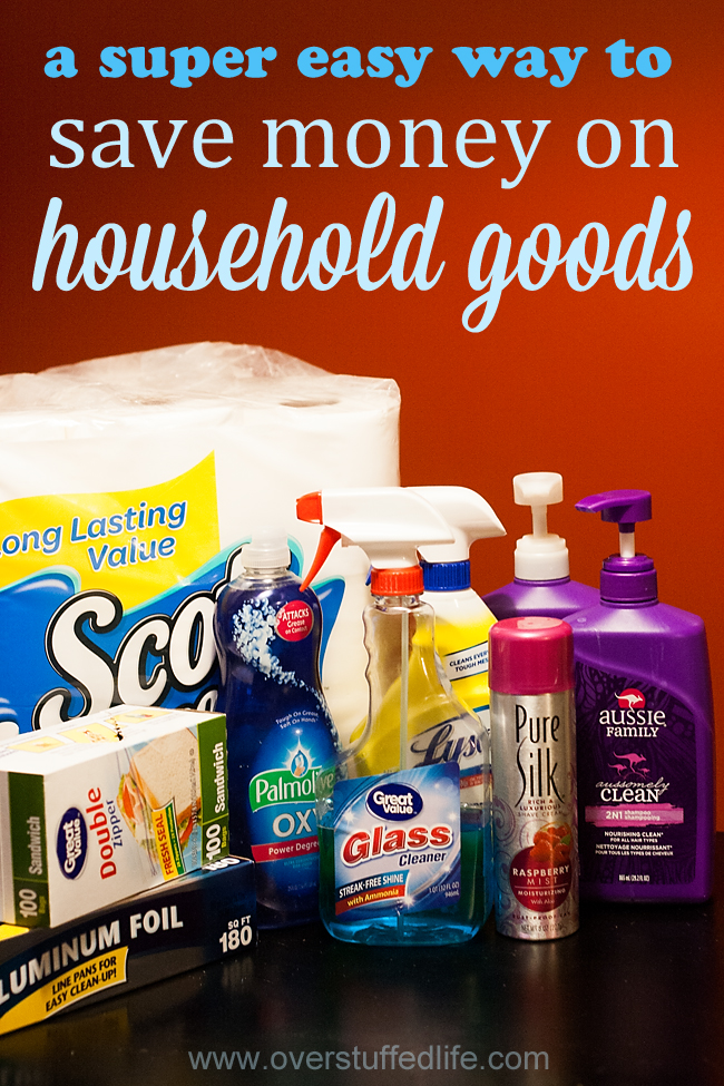 This checklist will help you save money on your household items--what could be easier? Plus a few other ways you can make shopping for household supplies easier and cheaper. #overstuffedlife