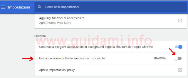 Chrome impostazioni Usa accelerazione hardware