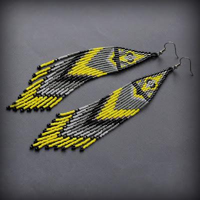 купиь желто серые серьги яркие длинные сережки в этническом стиле
