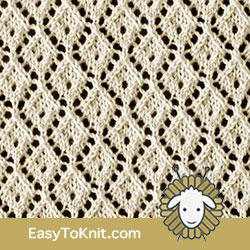 Eyelet Lace 49: Little Diamond | Easy to knit #knittingetitches #eyeletlace