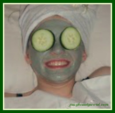green mask with cucumbers on eyes