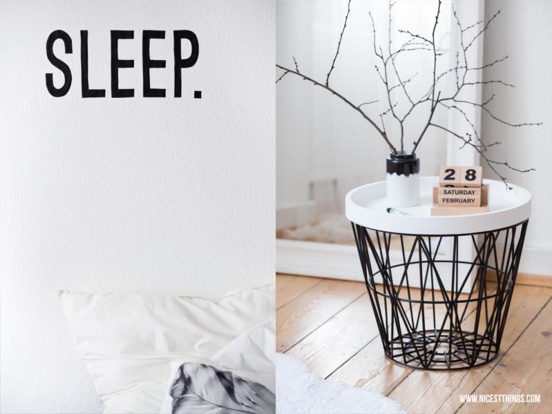Drahtkorb Tisch Ferm Living Wire Basket Wandtattoo Schlafzimmer Schrift sleep schwarz