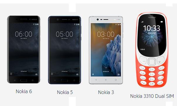 Nokia 6, Nokia 5, Nokia 3, Nokia 3310 Dual sim