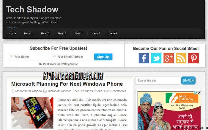 Tech Shadow Blogger Template, Best SEO Optimized Blogger Template, AdSense Friendly Blogger Template