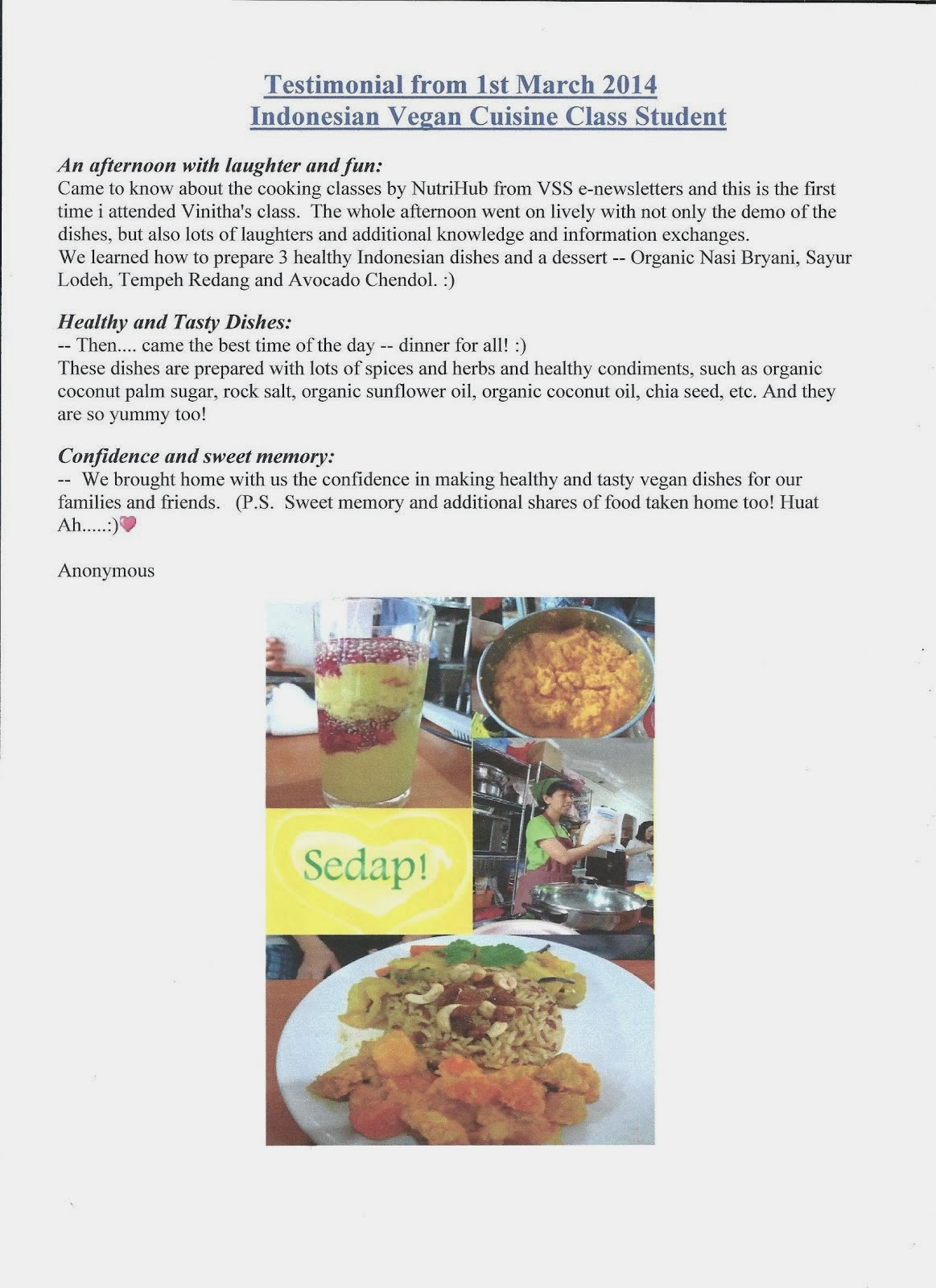 Sedap ! Photos and Testimonial from Indonesian Vegan Cuisine class Student