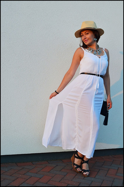 #phenomenalusboho #phenomenalus#phenomenaluschallenge, Adriana Style Blog, biała maxi, blog modowy Puławy, Boho, Fashion, Hat, koturny, moda, Styl, Style, Wedges, white maxi dress