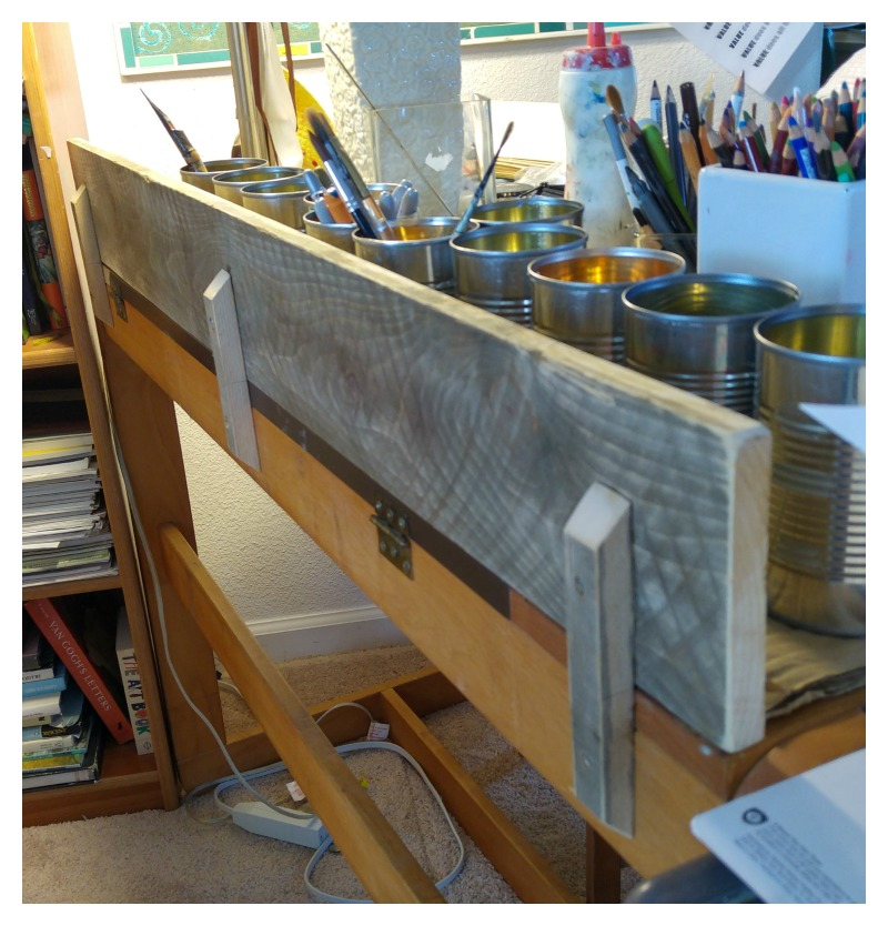 diy backing shelf for sketching desk in my art studio