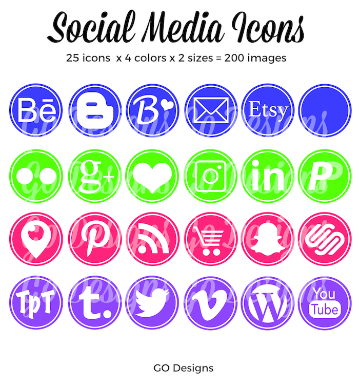 A large set of gorgeous social media icons in blue, pink, purple and green. These are great for personal and small commercial use.