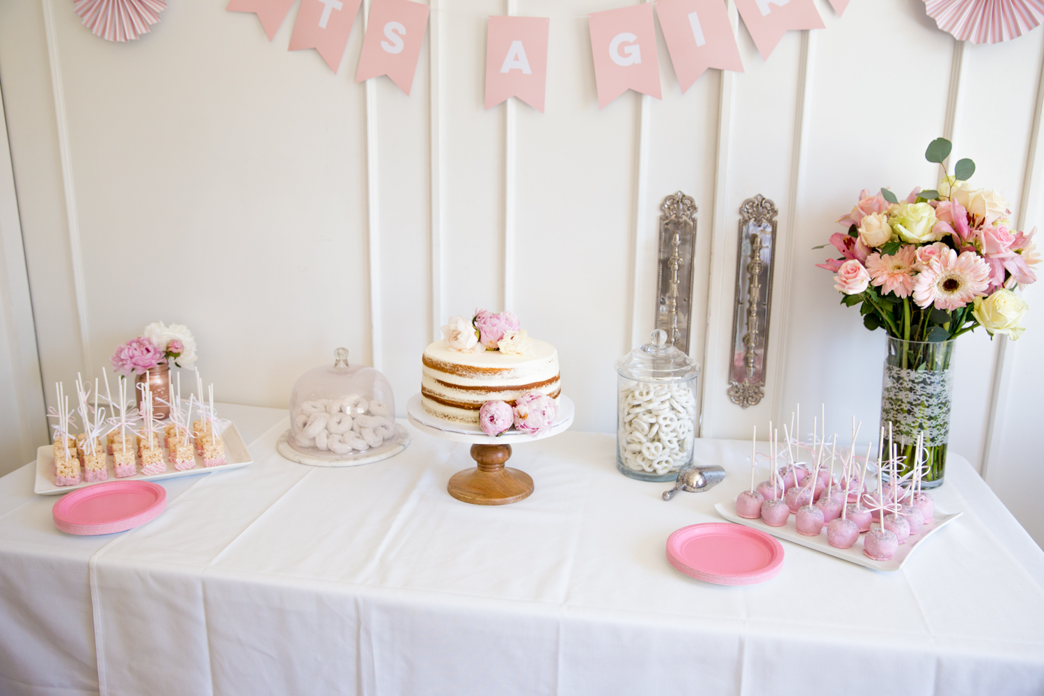 pink and white baby girl sprinkle tablescape naked cake peonies