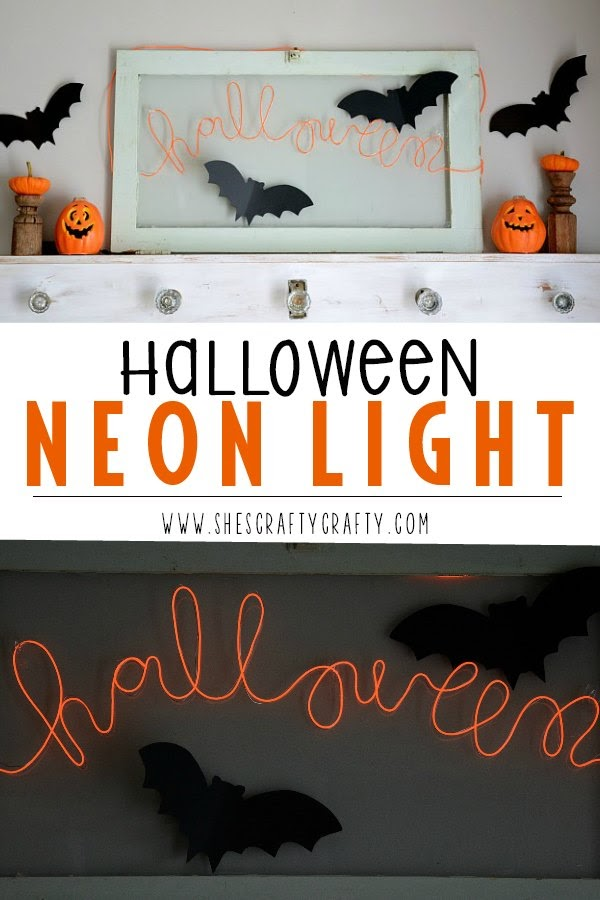 The secret of how to make a Halloween neon light.  DIY instructions for making a word neon light.