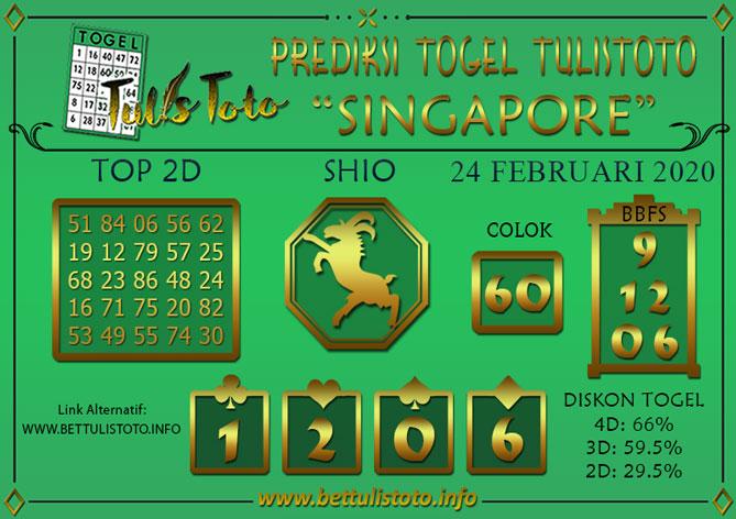 Prediksi Togel SINGAPORE TULISTOTO 24 FEBRUARI 2020