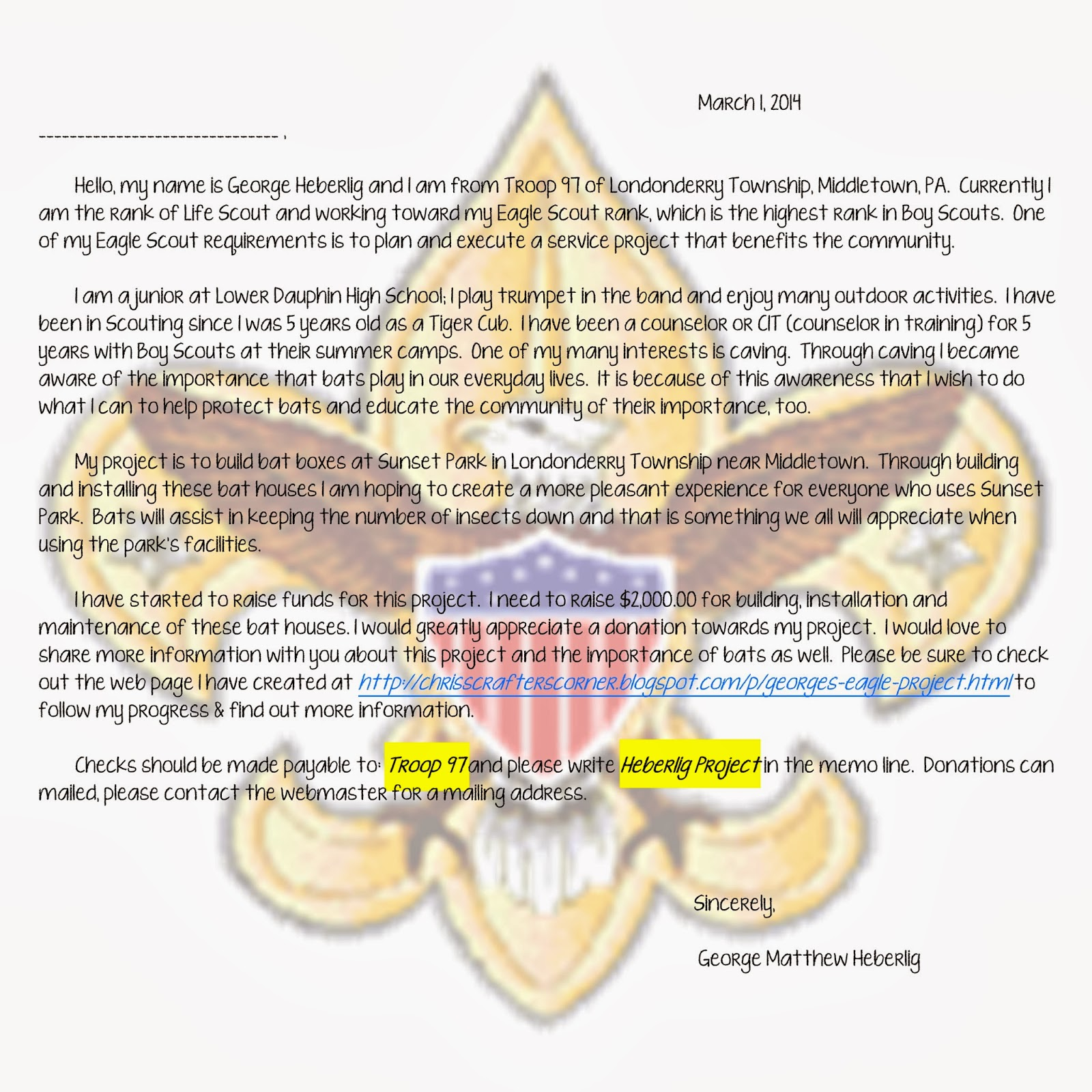 George's+Eagle+-+Page+002 Eagle Scout Project Donation Letter Template on court honor, congratulation cards, court honor invitation, recommendation letter, ceremony invitation, emblem printable, court honor program, project plaque, event program,