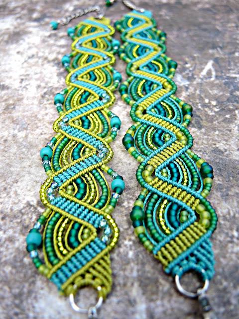 Micro macrame bracelets by Sherri Stokey.