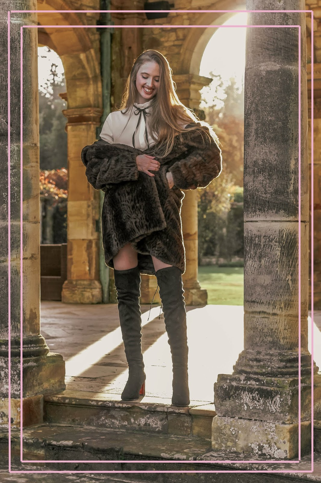 glamorous brown fur coat and over the knee boots