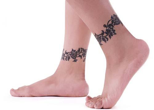 floral ankle band tattoo çiçekli ayak bandı dövme modeli