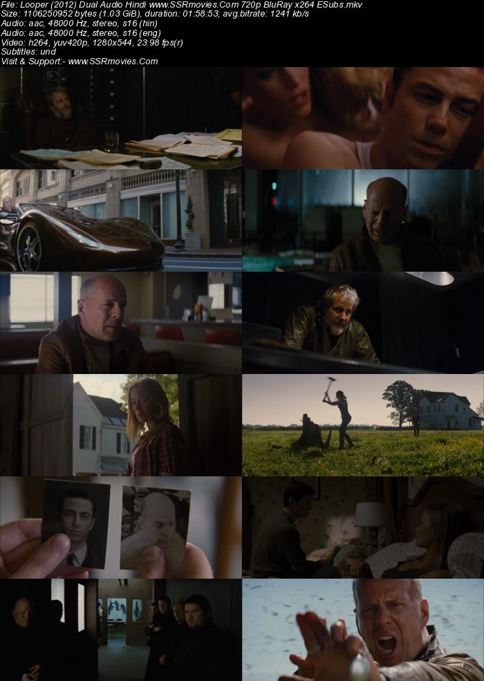 Looper (2012) Dual Audio Hindi 720p BluRay x264 1GB ESubs Movie Download