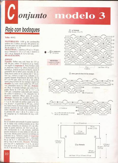 Patrón e Instrucciones para tejer Conjunto de Blusa y Falda