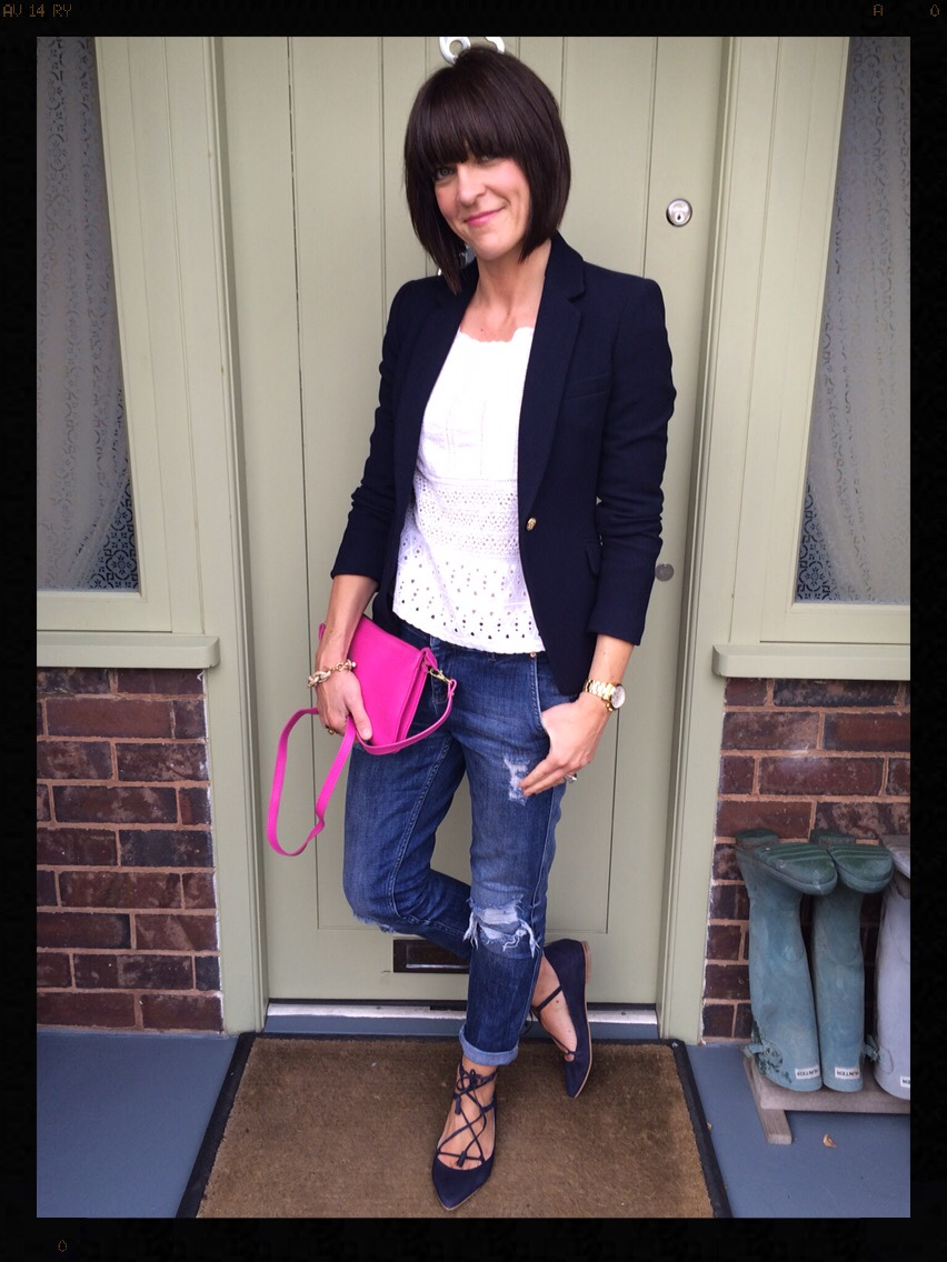 My Midlife Fashion, Lille Lace Up Point, Boyfriend Jeans, Distressed Denim, Boden, Zara, Cross Body Bag, Hot Pink, Lace Top, Blazer, Navy Blazer