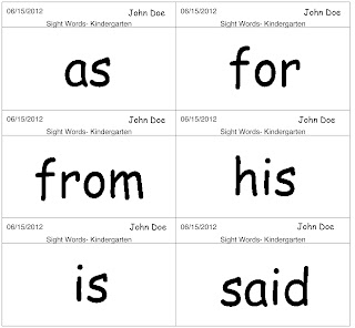ESGI Sight Word Flashcards