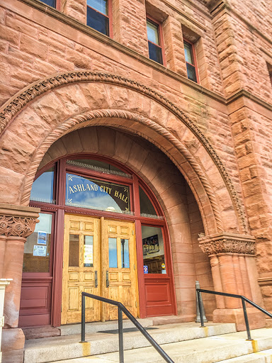The City Hall Building is built of from Apostle Island Brownstone