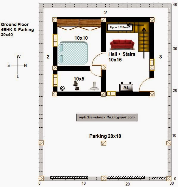 15 X 40 House Plan East Facing With Car Parking: My Little Indian Villa: #35#R28 4BHK In 30x40 (East Facing